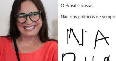 Regina Duarte adere à convocação de protesto contra o Congresso