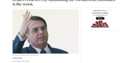 'Washington Post': Bolsonaro é pior líder mundial a lidar com coronavírus