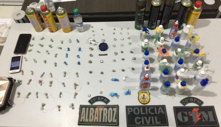 Casal é preso portando drogas em festa clandestina no bairro do Alto do Turu